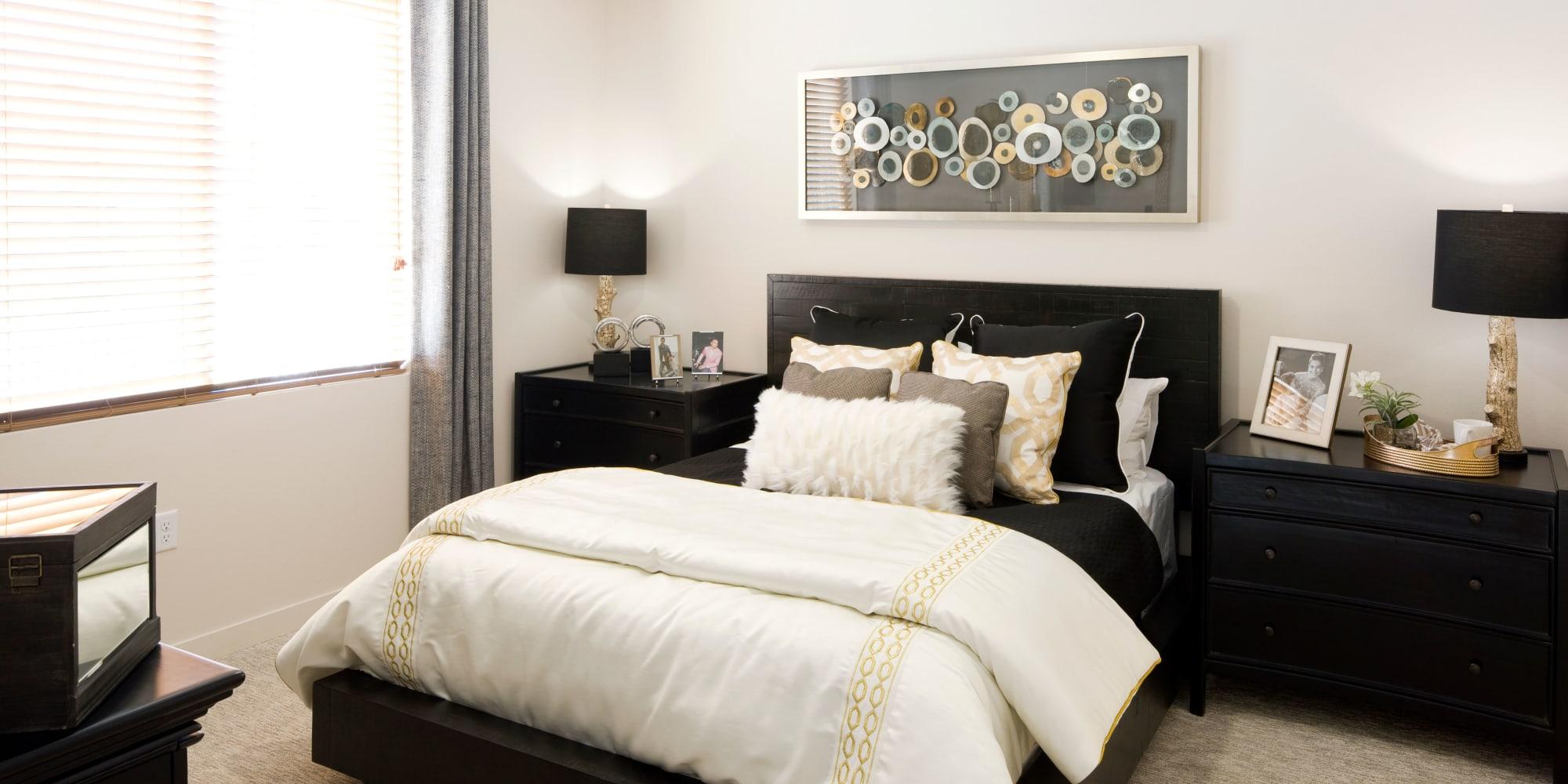Model bedroom at Olympus Alameda in Albuquerque, New Mexico