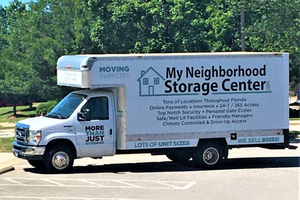 One of our moving trucks at My Neighborhood Storage Center in Raleigh, North Carolina