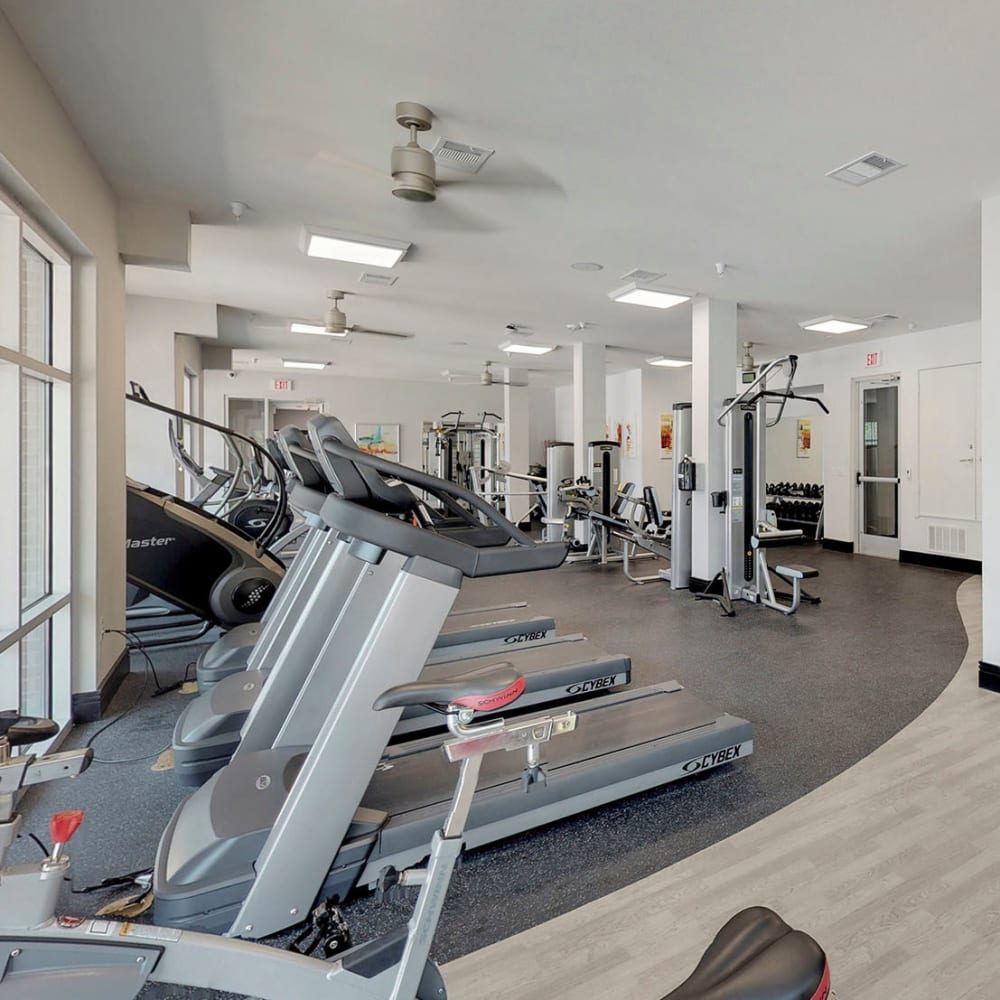 Ample equipment to help you stay in shape in the fitness center at Oaks 5th Street Crossing City Center in Garland, Texas