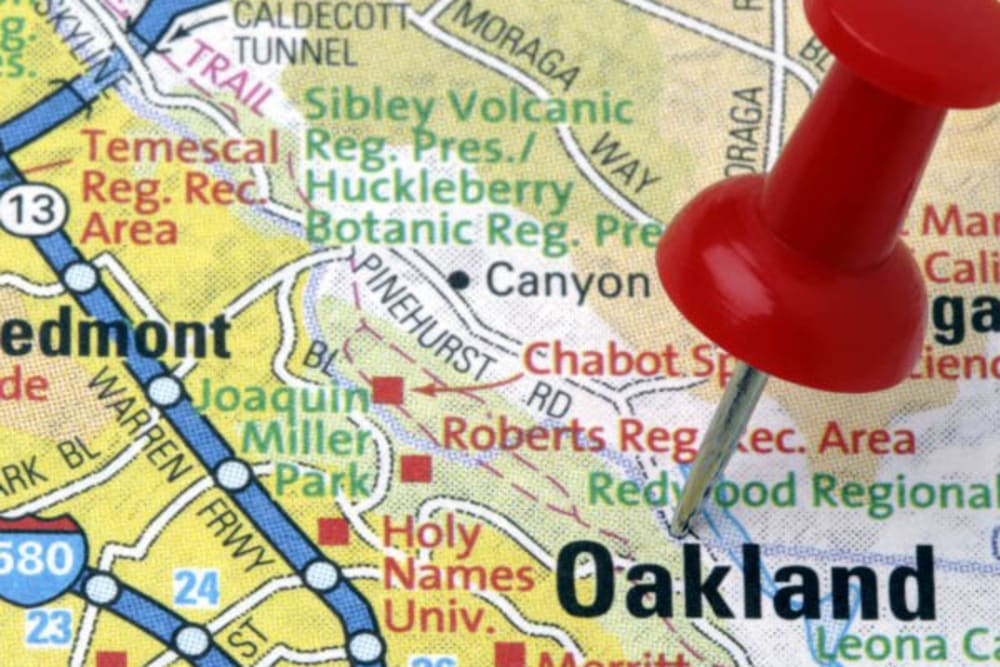 A map where Merrill Gardens at Rockridge is in Oakland, California.