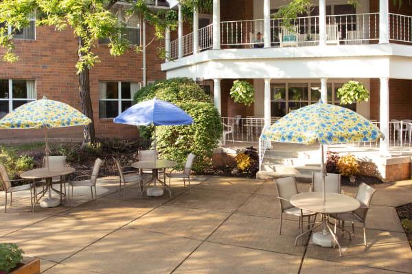 Sunlit patio at Royalton Woods in North Royalton, Ohio
