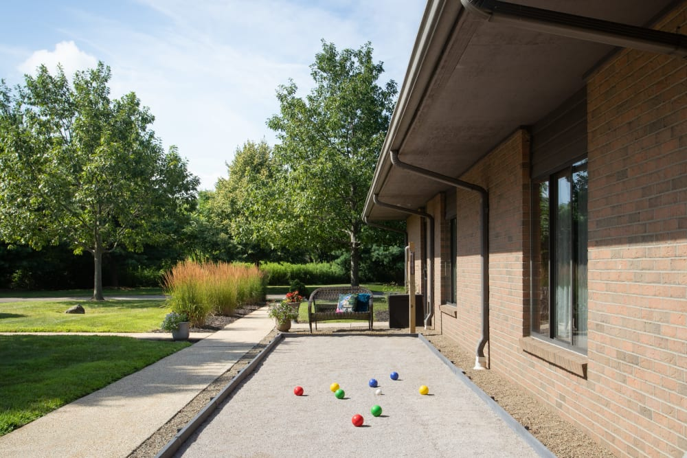 Outdoor bocce ball at Villa at the Lake in Conneaut, Ohio