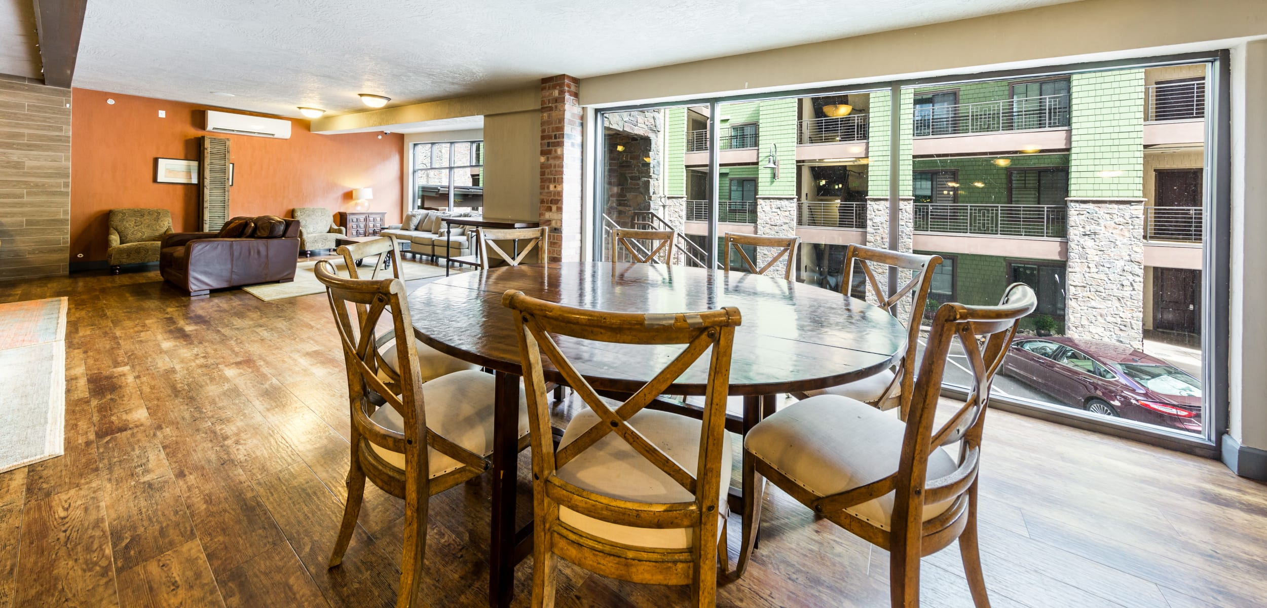 Community dining area at Copperline at Point Ruston in Tacoma, Washington