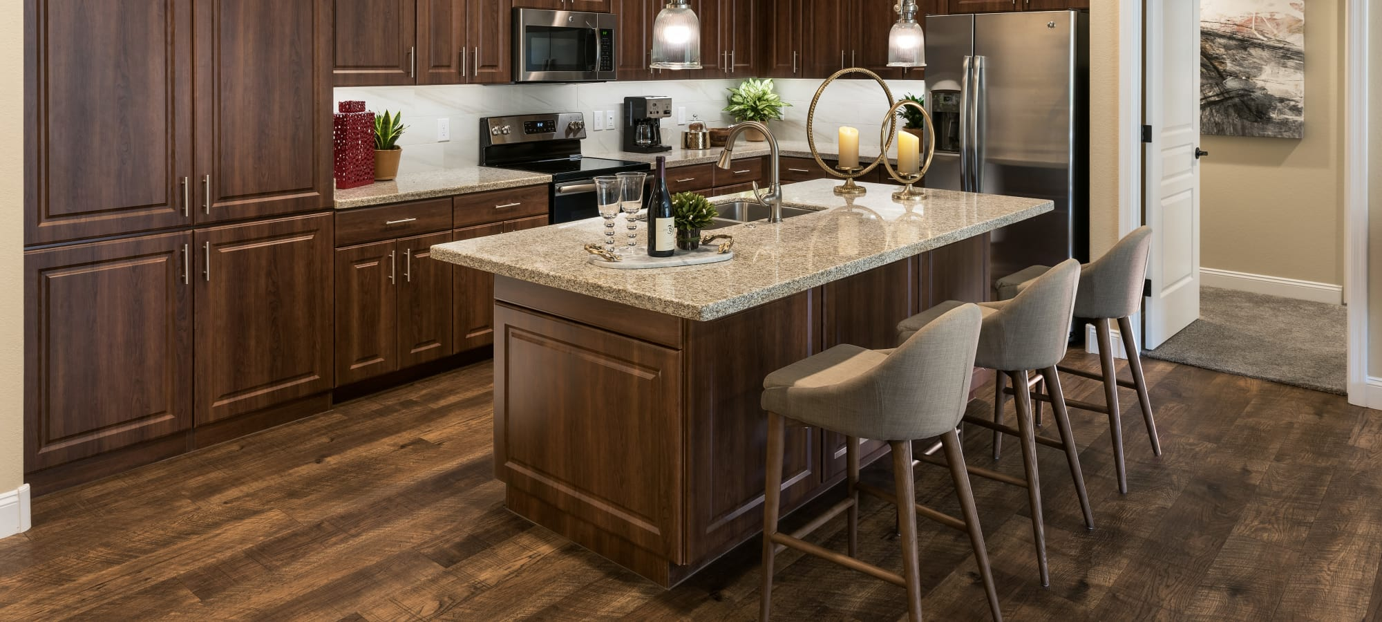 Luxurious kitchen island at San Portales in Scottsdale, Arizona