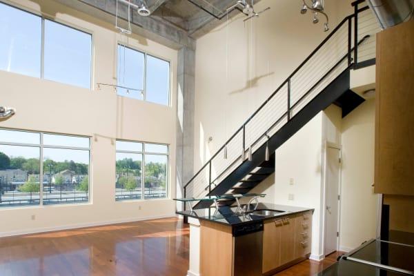 Spacious living area at 17th Street Lofts in Atlanta, GA