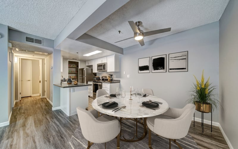 Model Dining and Kitchen at Parkside Commons Apartments in San Leandro, California