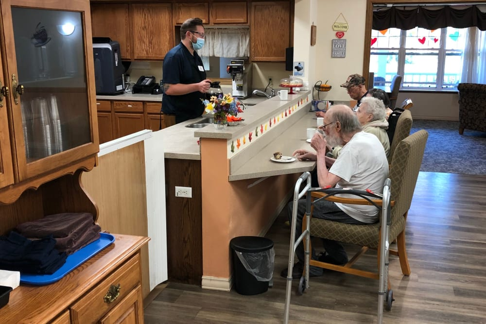 Residents enjoy chef-prepared meals at Landings of Sauk Rapids in Sauk Rapids, Minnesota