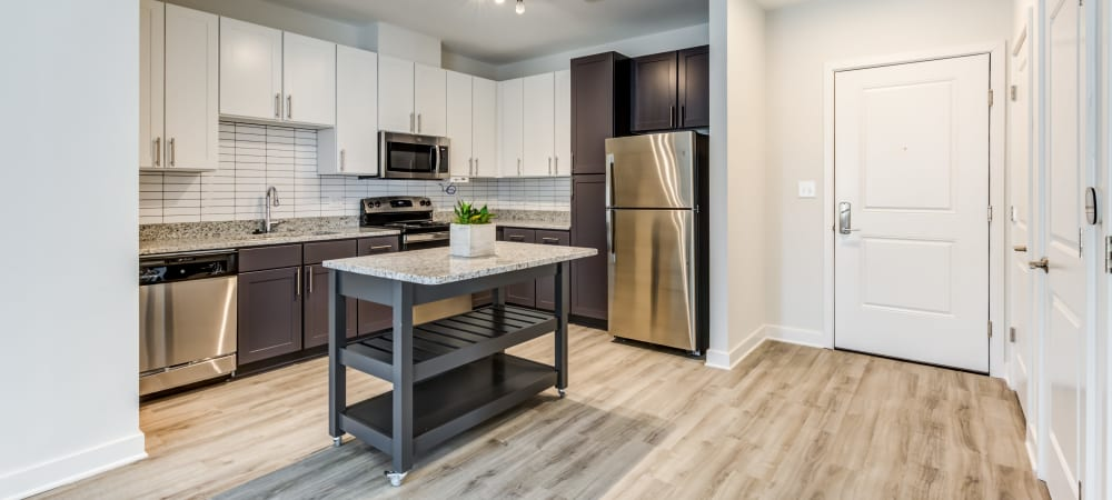 Kitchen area with tons of natural light at Main Street Apartments in Rockville, Maryland