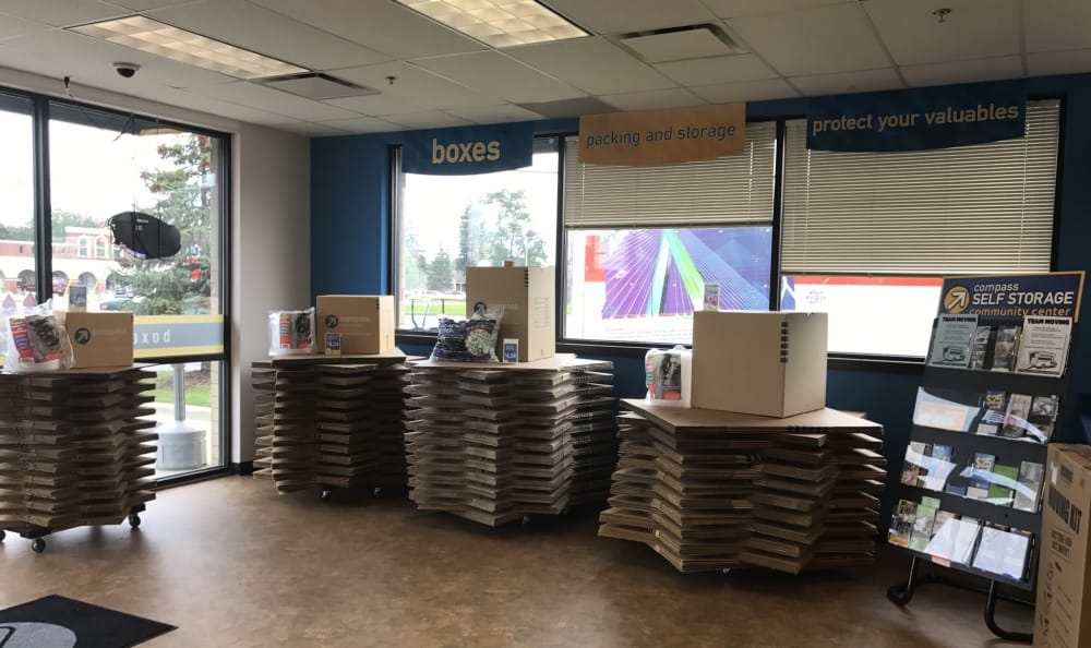 Boxes available at Compass Self Storage in Shelby Township, MI