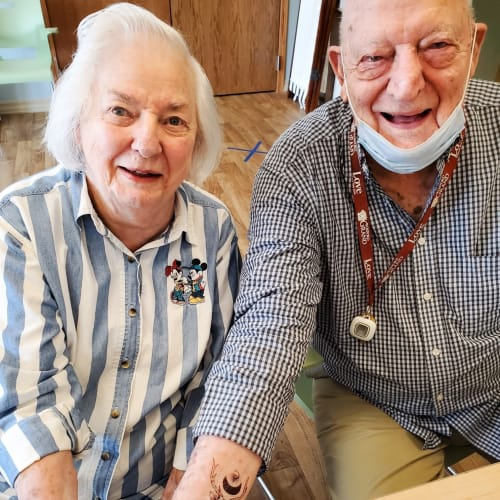 Happy resident couple at The Oxford Grand Assisted Living & Memory Care in Wichita, Kansas