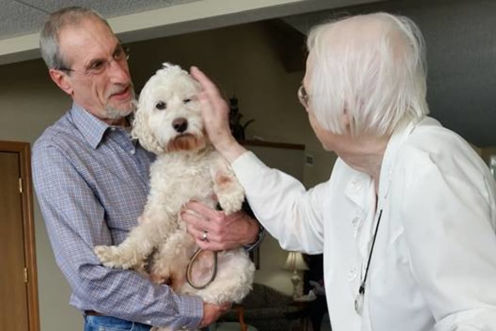 Resident pets a visiting therapy dog at Prairie Meadows Senior Living in Kasson, Minnesota.