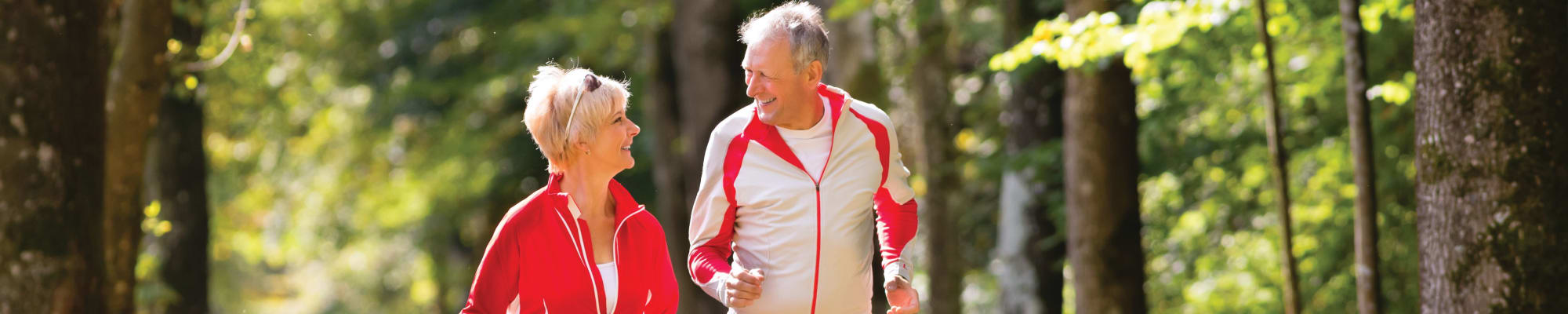 Senior couple running together at The Commons at Union Ranch in Manteca, California