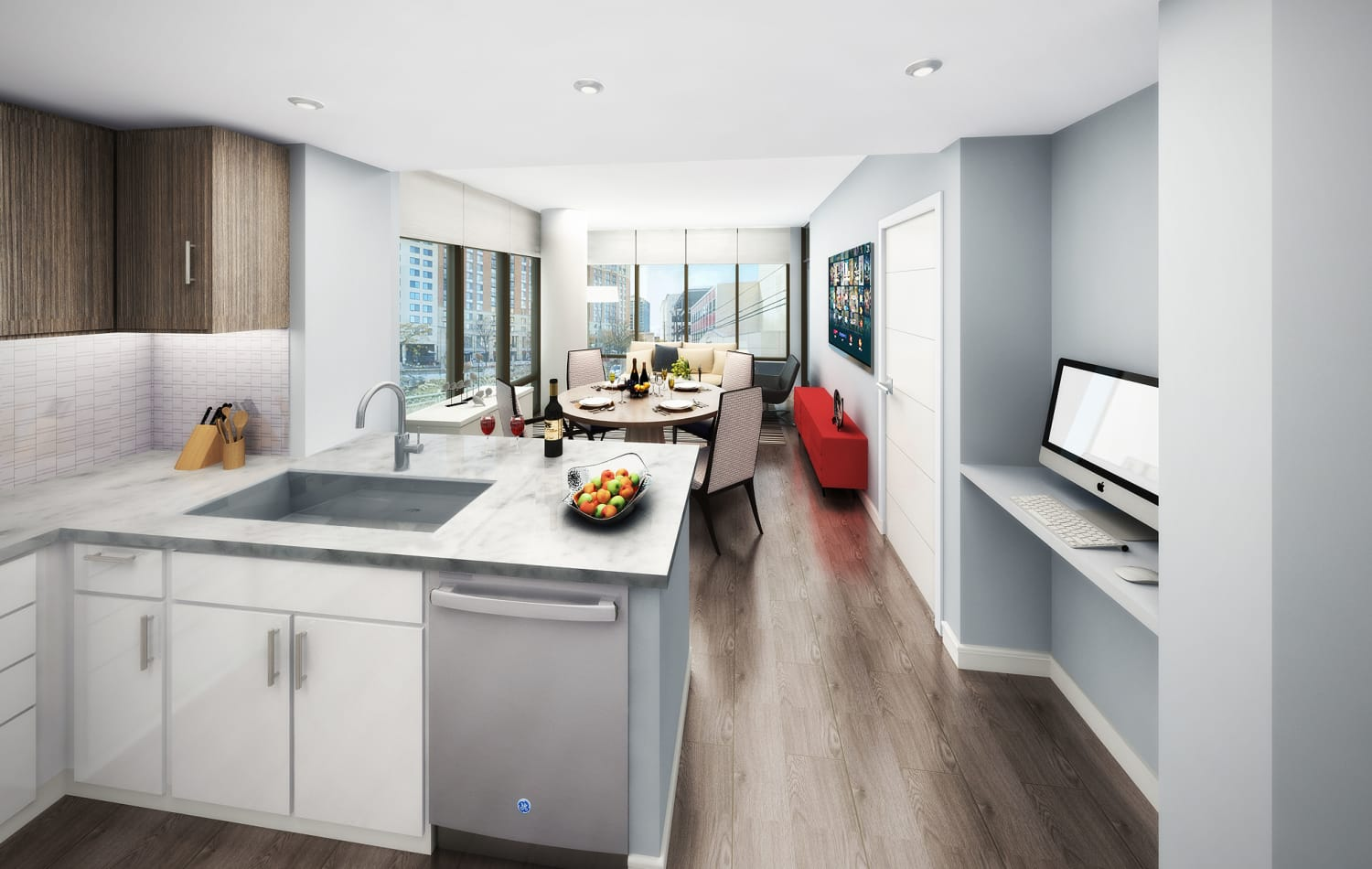 Rendering of modern kitchen in model home at Gallery Bethesda II in Bethesda, MD