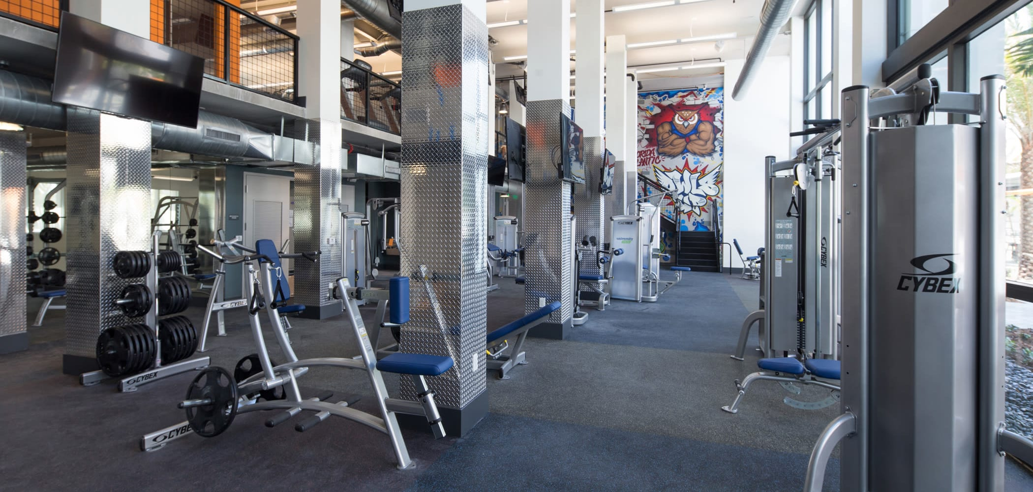 Giant fitness center where students can workout after class at University Park in Boca Raton, Florida