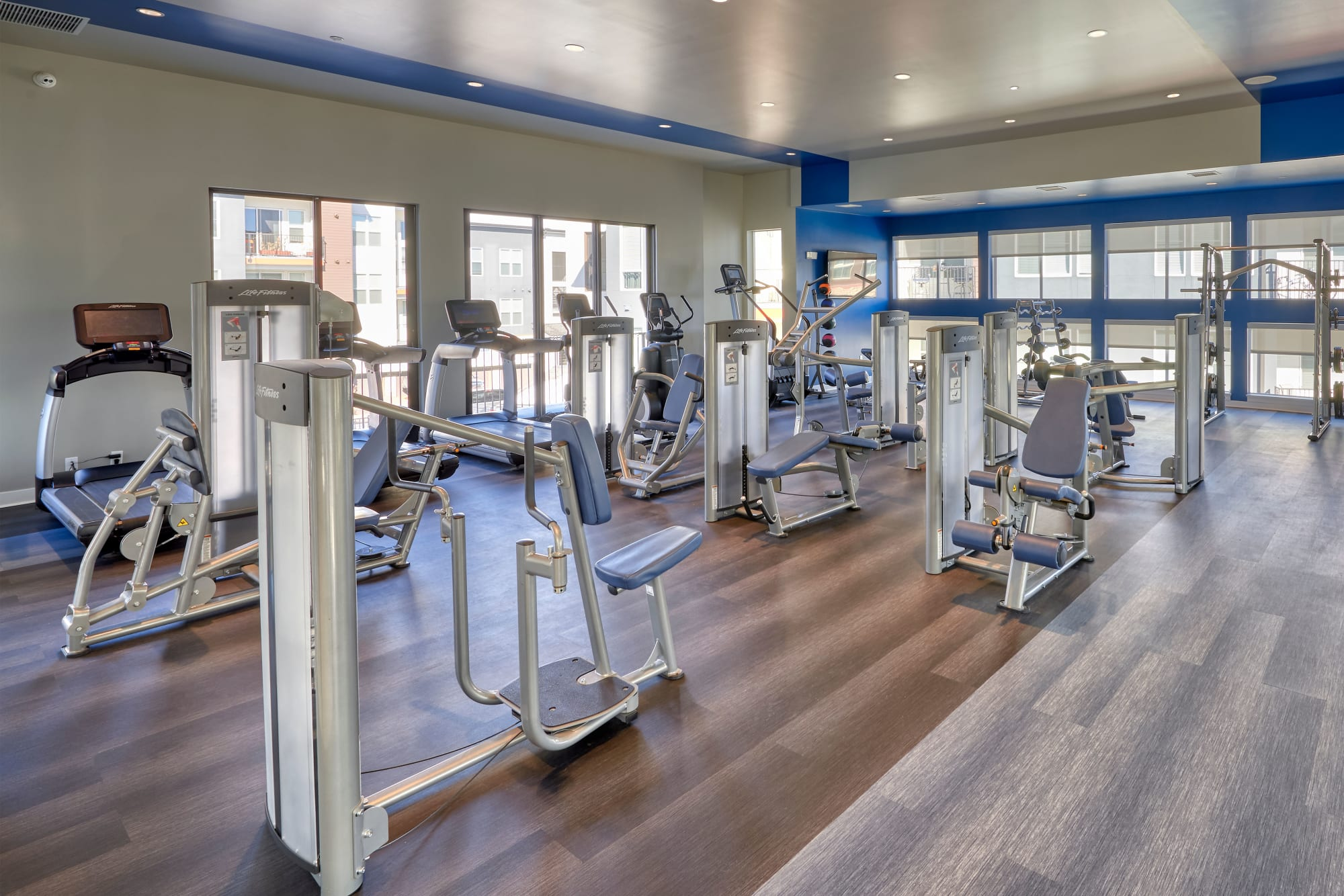 The comprehensive 24 hour fitness center at Elevate in Englewood, Colorado