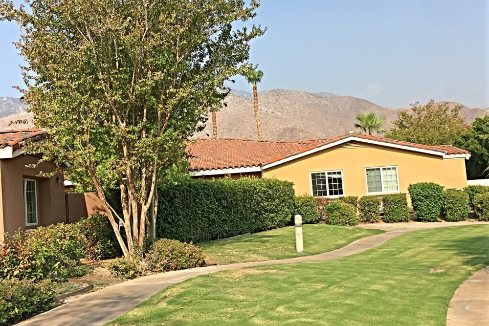 View of the building at Pacifica Senior Living Palm Springs in Palm Springs, California