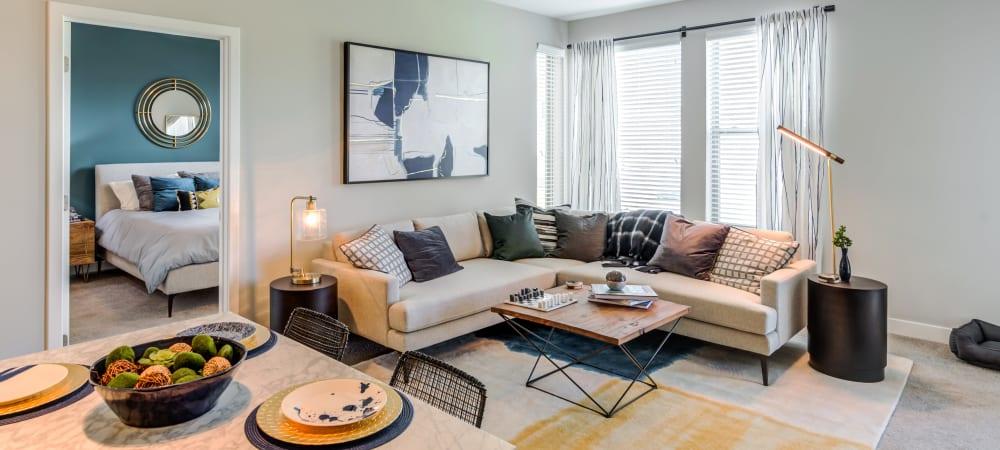 Living room with tons of natural light at Flats At 540 in Apex, North Carolina