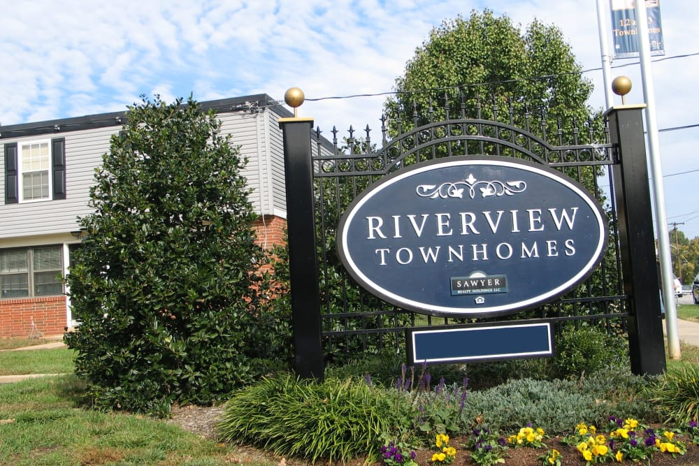 Welcome sign at Riverview Townhomes in Halethorpe, MD