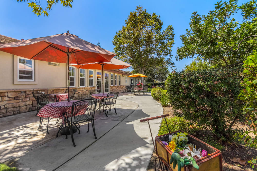 Patio at senior living in Oceanside