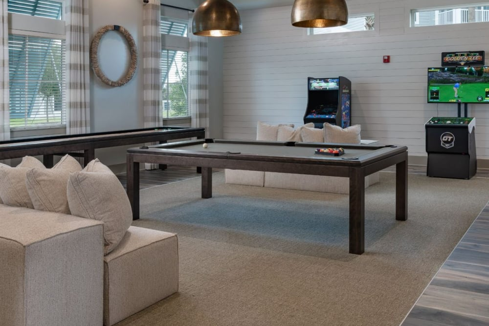 Game area in clubhouse for residents to play in at Reunion at 400 in Kissimmee, Florida