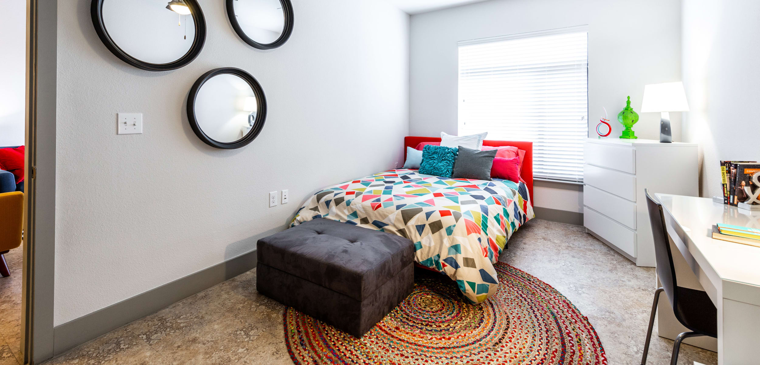 Bright, spacious bedroom at Regents West at 24th in Austin, Texas