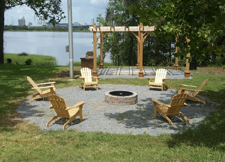 Beautiful outdoor fire pit at Pier 5350 in Jacksonville, Florida