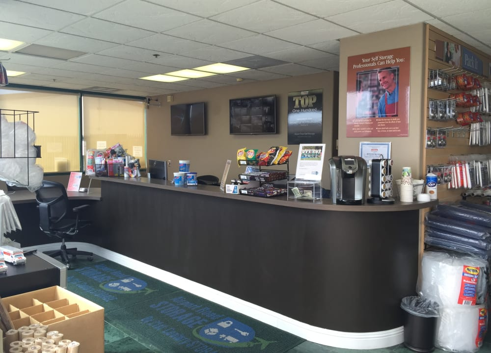 Packing supplies and the office counter at Airport Road Storage in Monterey, California