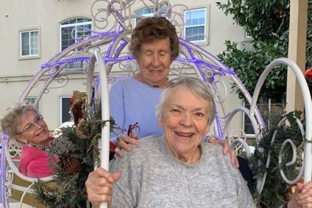 Residents enjoying outside near Merrill Gardens at Oceanside in Oceanside, California.