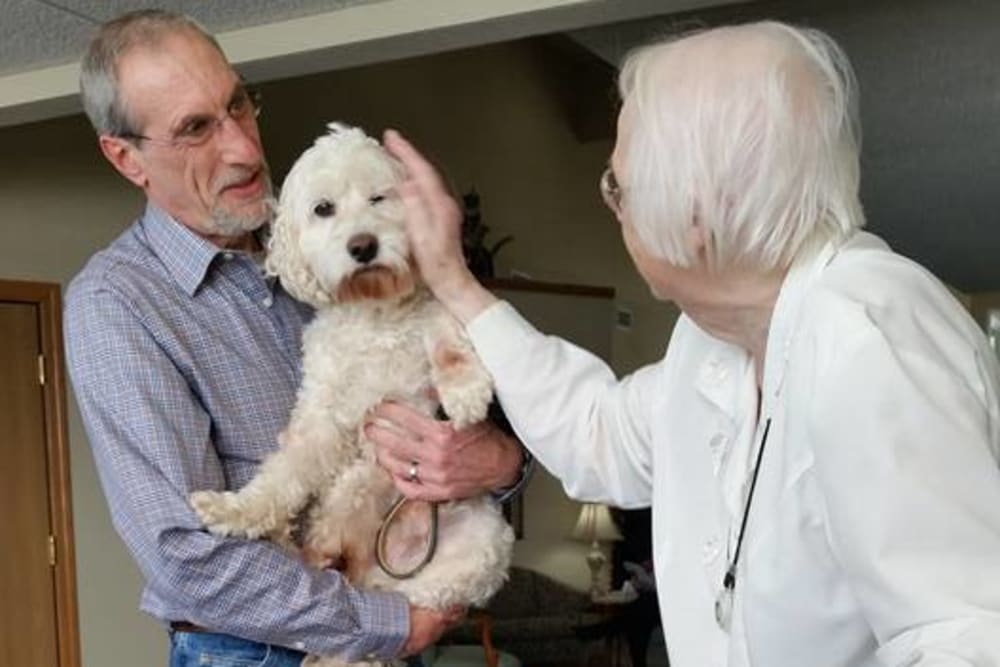 Therapy pets come to visit at Prairie Meadows Senior Living in Kasson, Minnesota.
