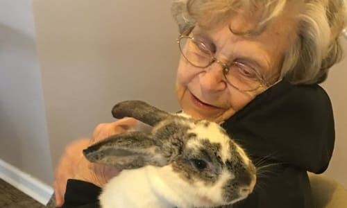 Resident with a bunny at Traditions of Cross Keys in Glassboro, New Jersey