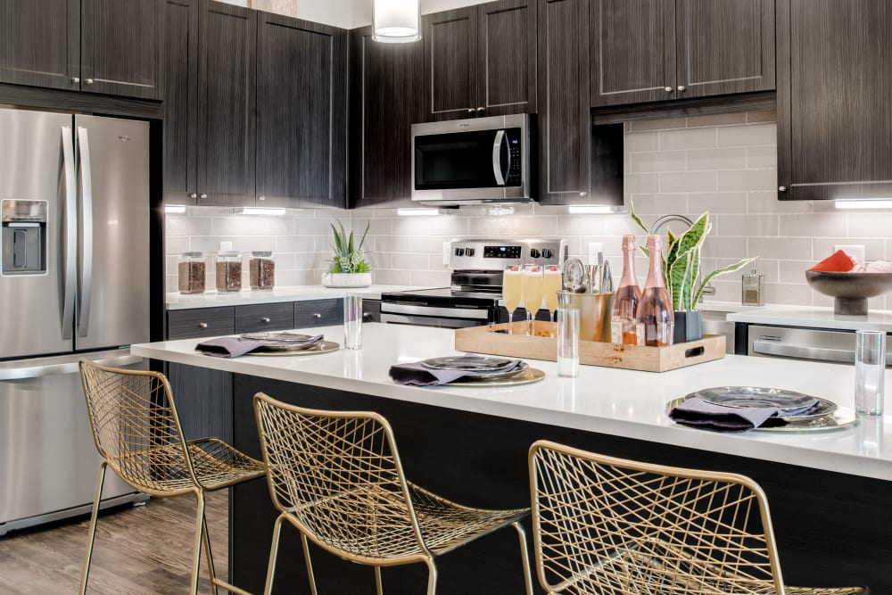 Dark brown and white kitchen at Alta Trinity Green in Dallas, Texas