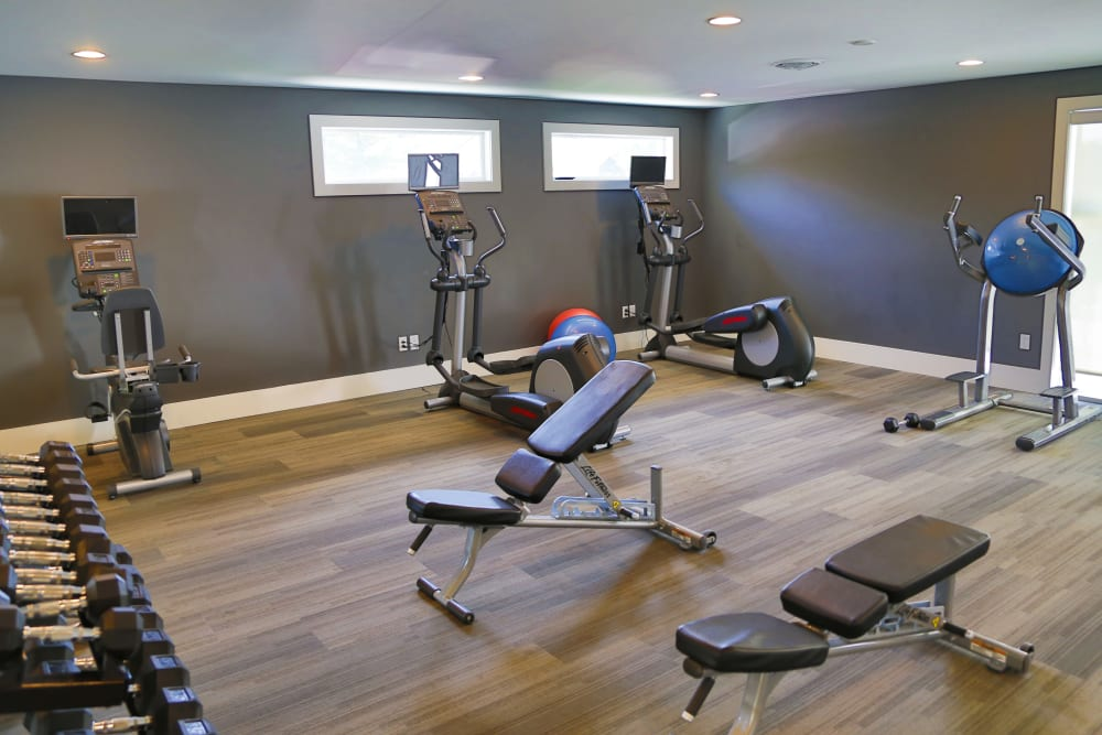 A spacious community gym at Metro on 5th in Saint Charles, Missouri