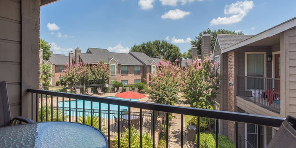 Private patios at Broadstone Briar Forest in Houston, Texas