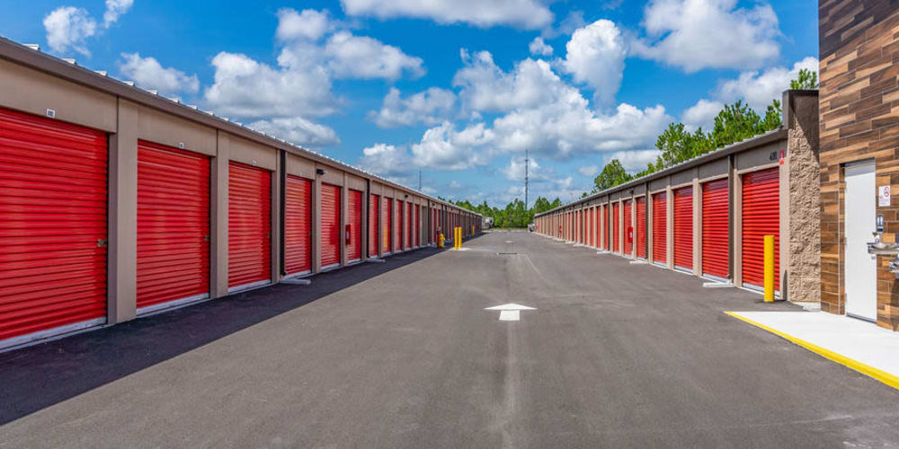 Outdoor drive-up storage units at StorQuest Express - Self Service Storage in Palm Coast, Florida