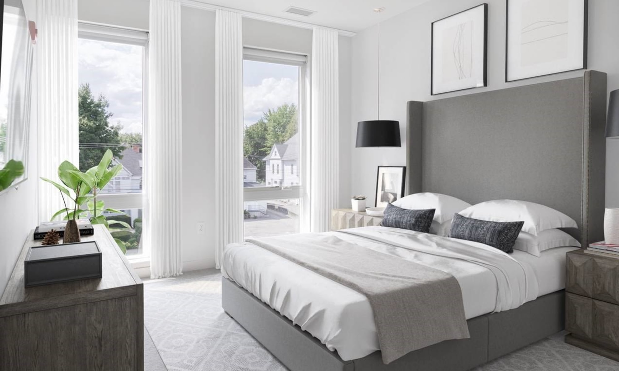 Bedroom at 50 Front Luxury Apartments in Binghamton, NY