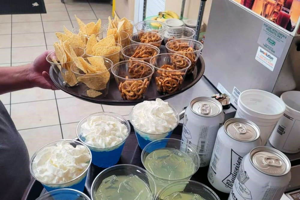 Snacks during a party at Woodland Palms Memory Care in Tucson, AZ