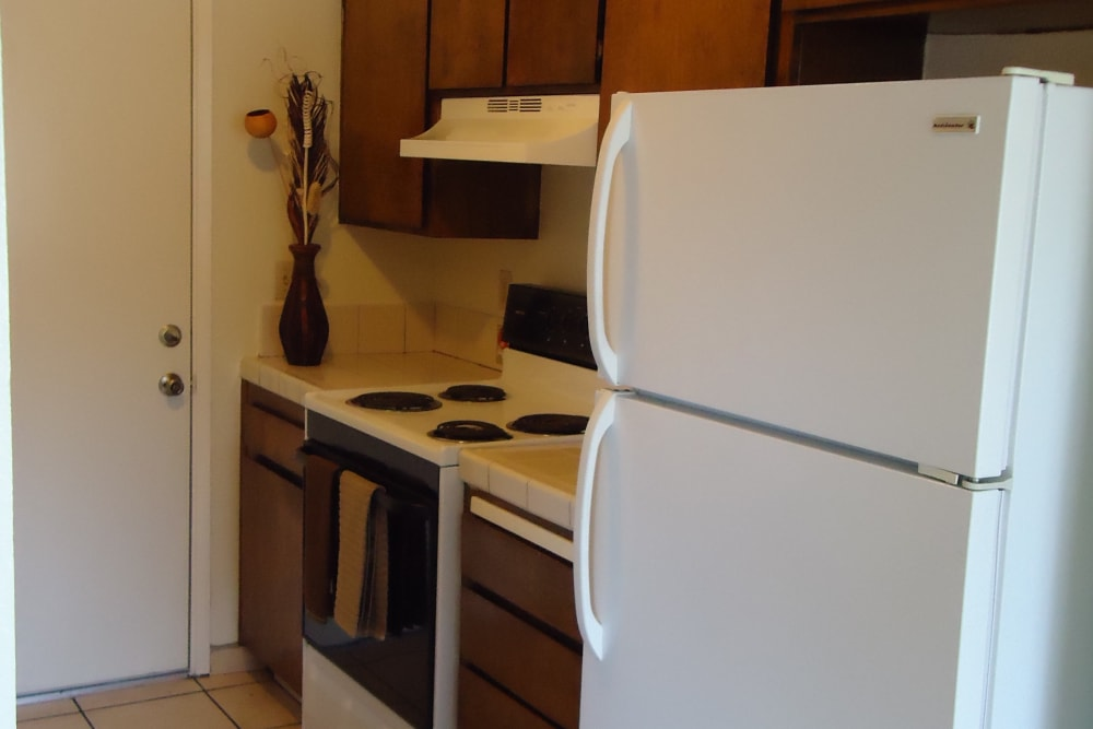 Kitchen at Olympus Court Apartments in Bakersfield, California