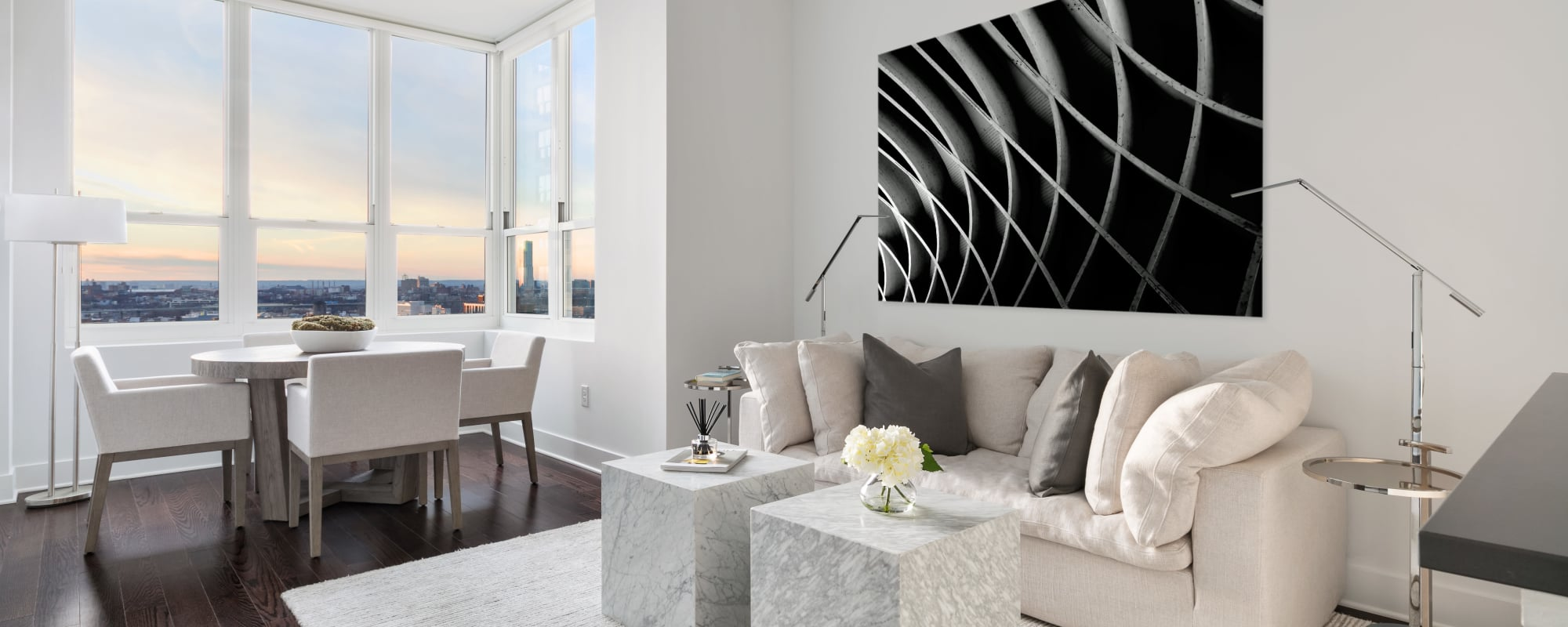 Spacious living room at Trump Bay Street in Jersey City, New Jersey