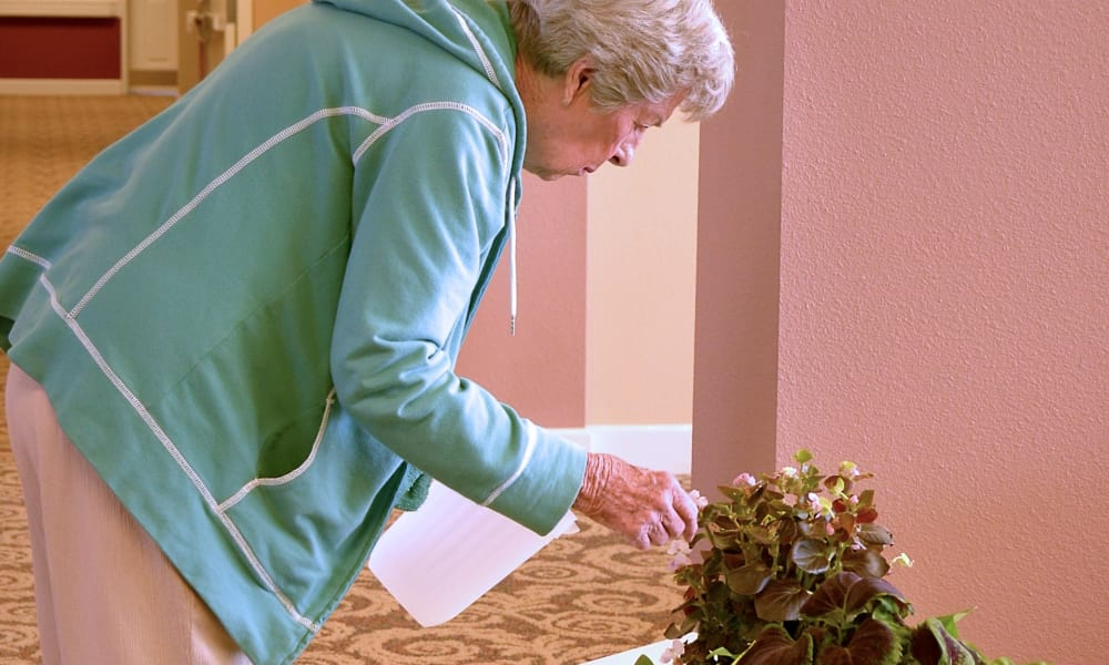 Resident watering plants at Wheatfields Senior Living Community in Clovis, New Mexico