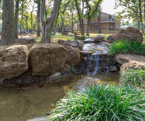 Cascading waterfall at The Summit at Landry Way in Fort Worth