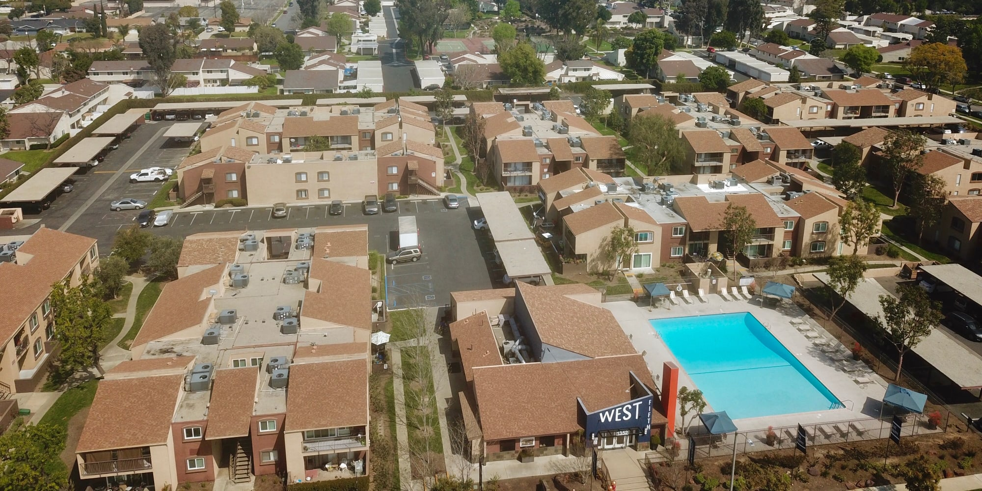 Aerial view of swimming pool at West Fifth Apartments in Ontario, California