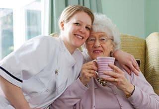 Senior living resident with nurse in Hammond
