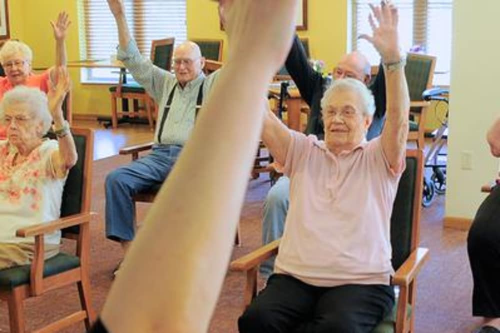 Our residents being part of our exercises at Azpira Place of Lake Zurich in Lake Zurich, IL