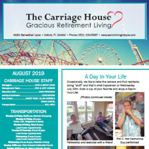 August The Carriage House Gracious Retirement Living newsletter