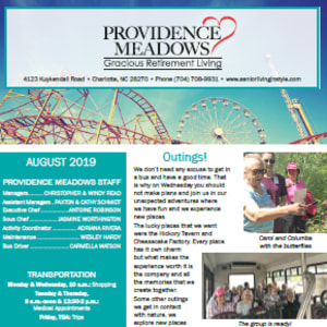 August Providence Meadows Gracious Retirement Living newsletter