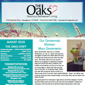 August The Oaks Gracious Retirement Living newsletter