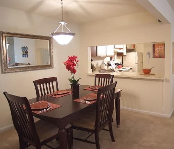 Dining room at Woodbriar Apartments in Chesapeake, VA