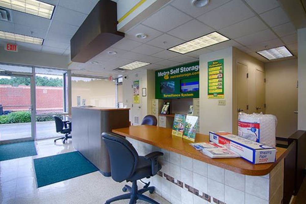 Office reception with packing and moving supplies for sale at Metro Self Storage in Lawrenceville, Georgia