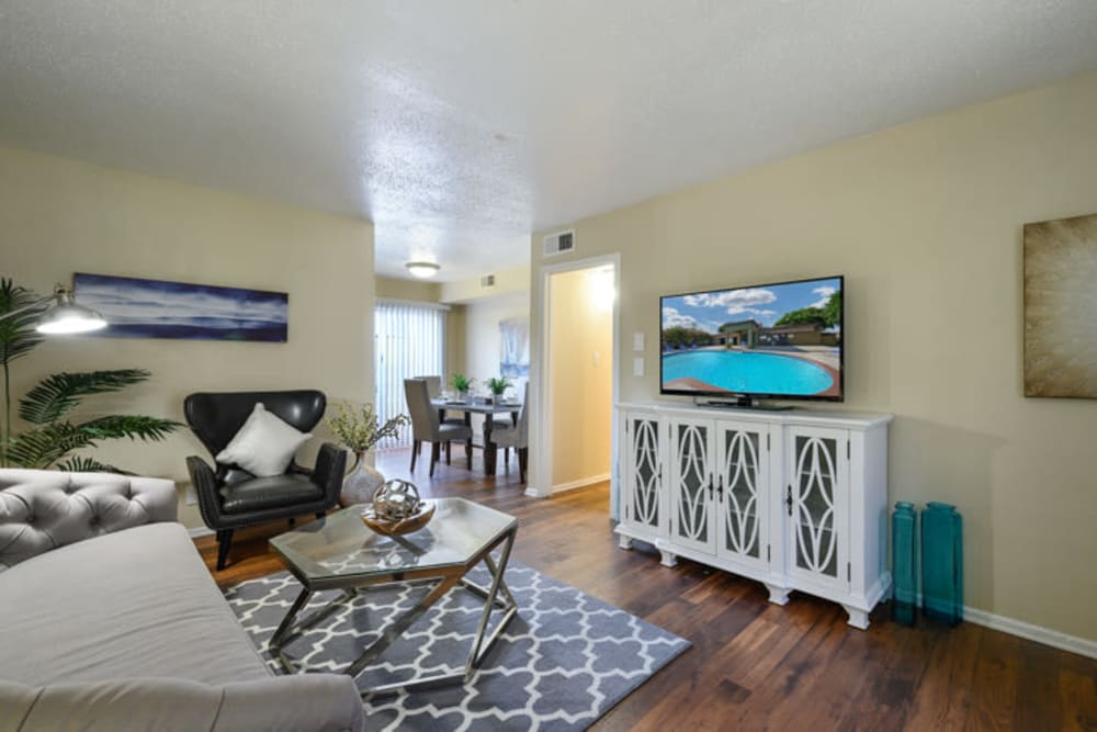 Model living room at The Manchester Apartments in Euless, Texas