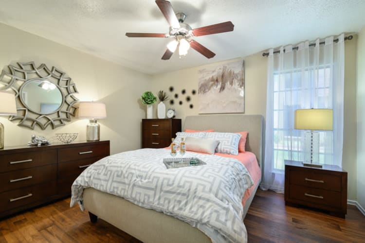 Model bedroom at The Manchester Apartments in Euless, Texas